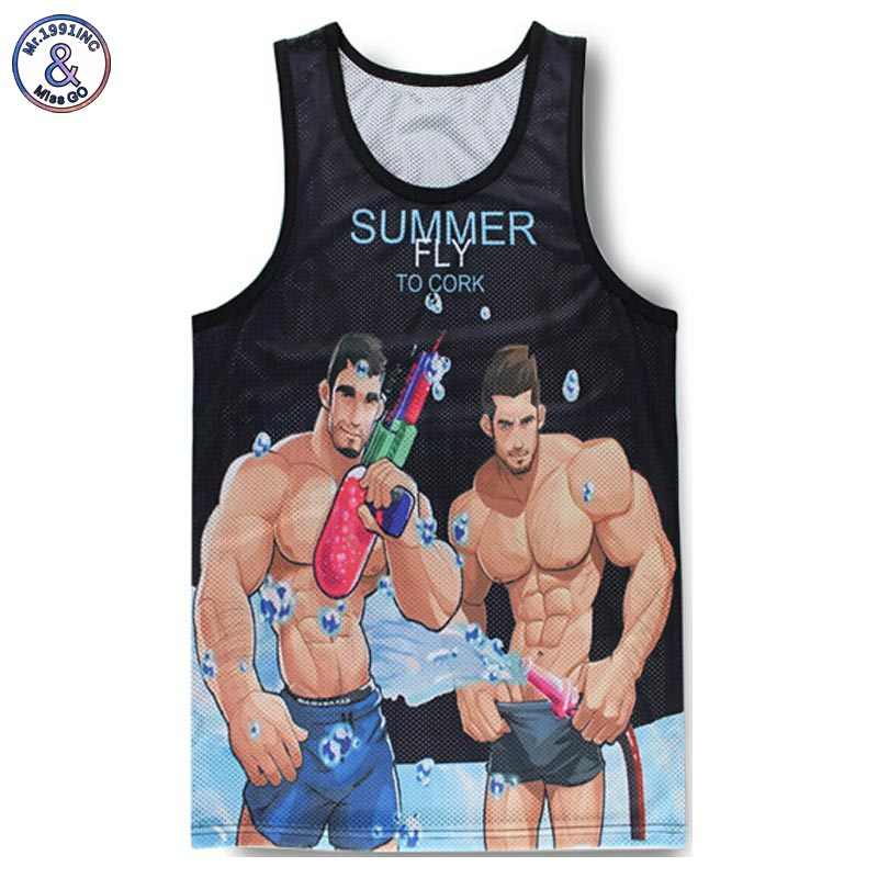 Headbook Newest Fashion Men's   tank     tops   3d vest funny print powerful muscular man mesh breathable 3d vest