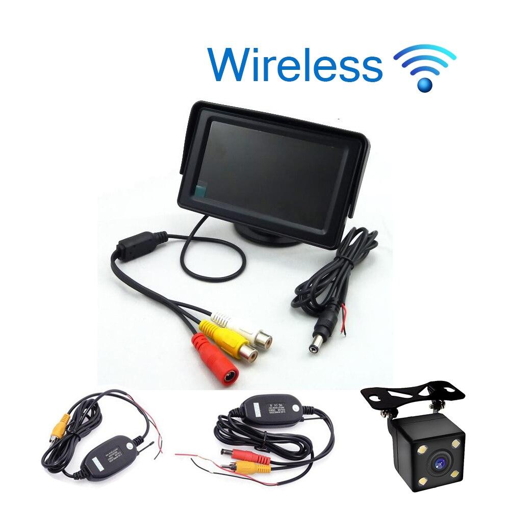 Беспроводной стайлинга автомобилей 4.3 дюймов TFT ЖК-дисплей Экран автомобиля Мониторы Дисплей для заднего вида резервного копирования Камера автомобиля ТВ Дисплей