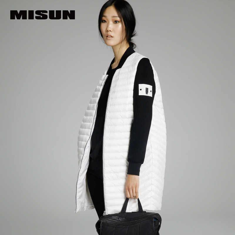 MISUN бренд 2019 Весна Новый женский тонкий легкий длинный пуховик свободный Женский вязаный рукав пэчворк женские пуховики