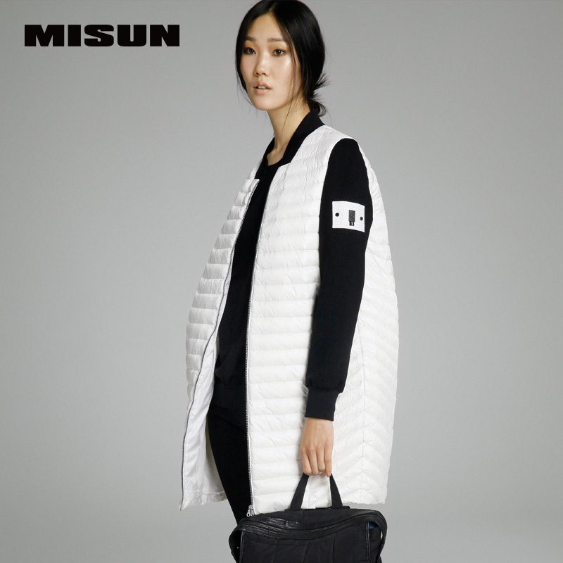 MISUN Brand 2018 spring new women's thin LIGHT long   down     coat   loose female knitted sleeve patchwork female donw jackets
