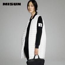 Misun Марка 2016 тонкий средней длины вниз пальто свободный женский вязаный рукав лоскутное легко носить с собой