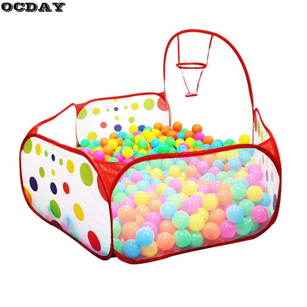 OCDAY Foldable Toys Tent Baby Play House Tent Polka Dot Basketball Tent Or 100/50pcs Kids Ocean Balls Outdoor&Indoor Sports
