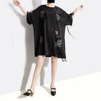 2019 Korean Summer Women Black Mini Fringe Dress Flower Appliques & Sequins Ladies Plus Size Party Dress vestidos de festa