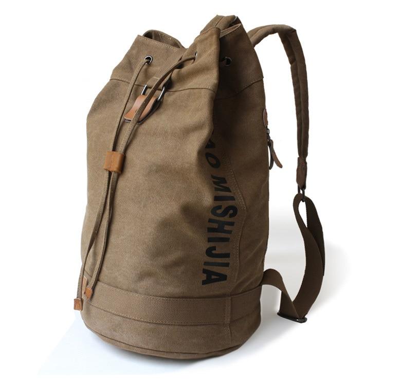 Large capacity men canvas backpack sports drawstring bucket bag ...