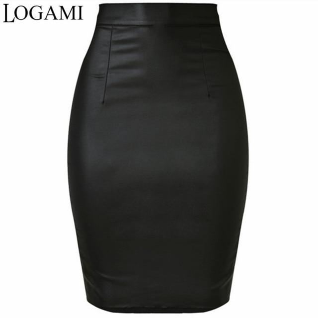 e4b1cdaa451035 Jupe Simili Cuir femme LOGAMI Jupe crayon taille haute Jupe femme noir Midi  Saia Couro Jupe Simili Cuir