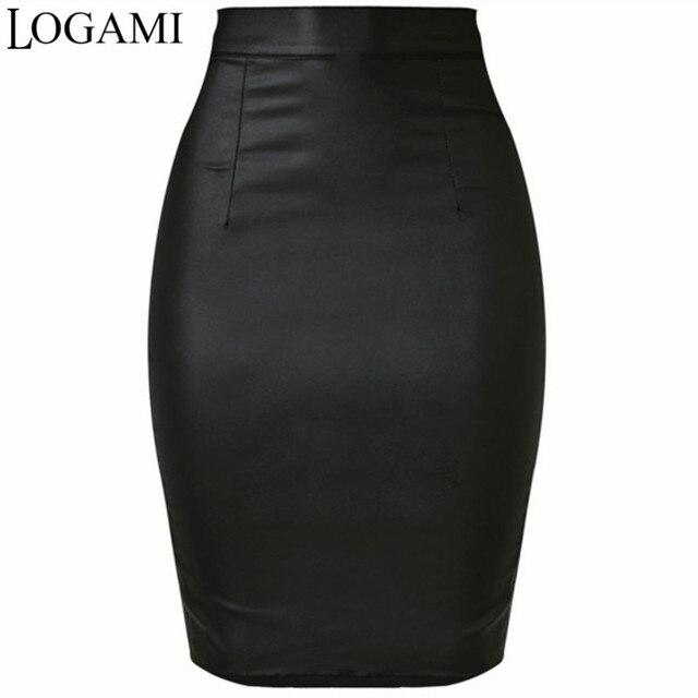 8119246abcb57 LOGAMI Femmes Faux Cuir Jupe Crayon Taille Haute Jupes Femmes Jupe Noir  Midi Saia Couro Jupe