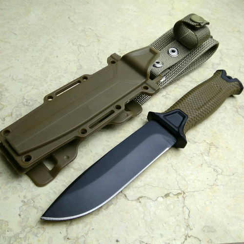 Brown Color Hunting Knife for camping tools Tactical knives Full or Serrated Fixed Blade Knife + Sheath! fixed blade survival hunting knife 58hrc 440c tactical knife fishing diver camping tools canivetes cuchillos