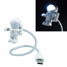 New Mini USB Tube White Flexible Spaceman Astronaut  LED Night Light Lamp For Computer Laptop PC Notebook Reading Portable DC 5V