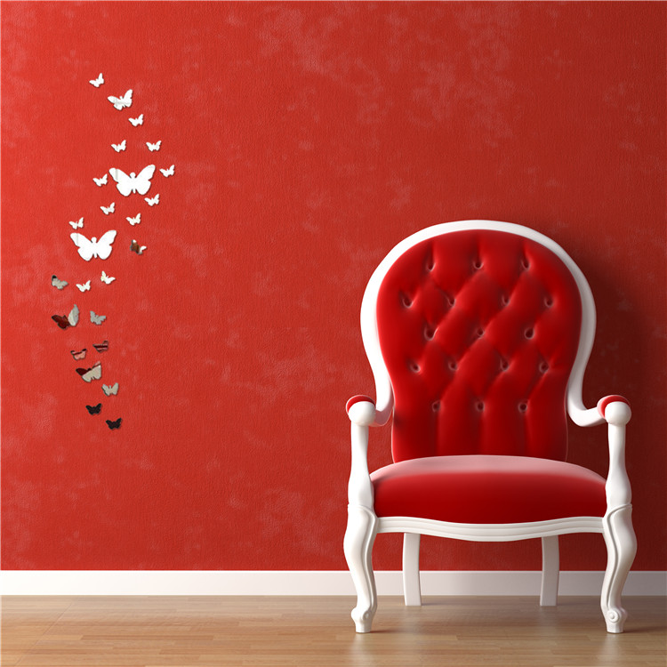 acrylic 3d butterfly design mirror effect wall sticker artistic room decor free shippingchina - Artistic Wall Design