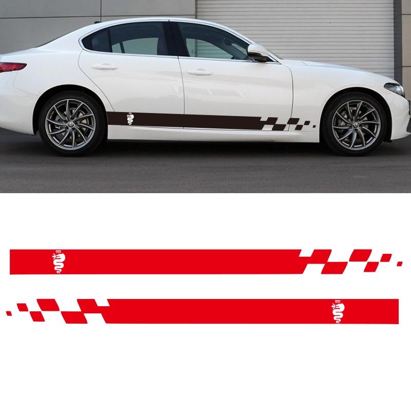 Car Stickers Automobile,car Dual Stripes Racing For Alfa Romeo 147 156 159 166 Giulietta Vinyl Decal Side Stickers Da-9897