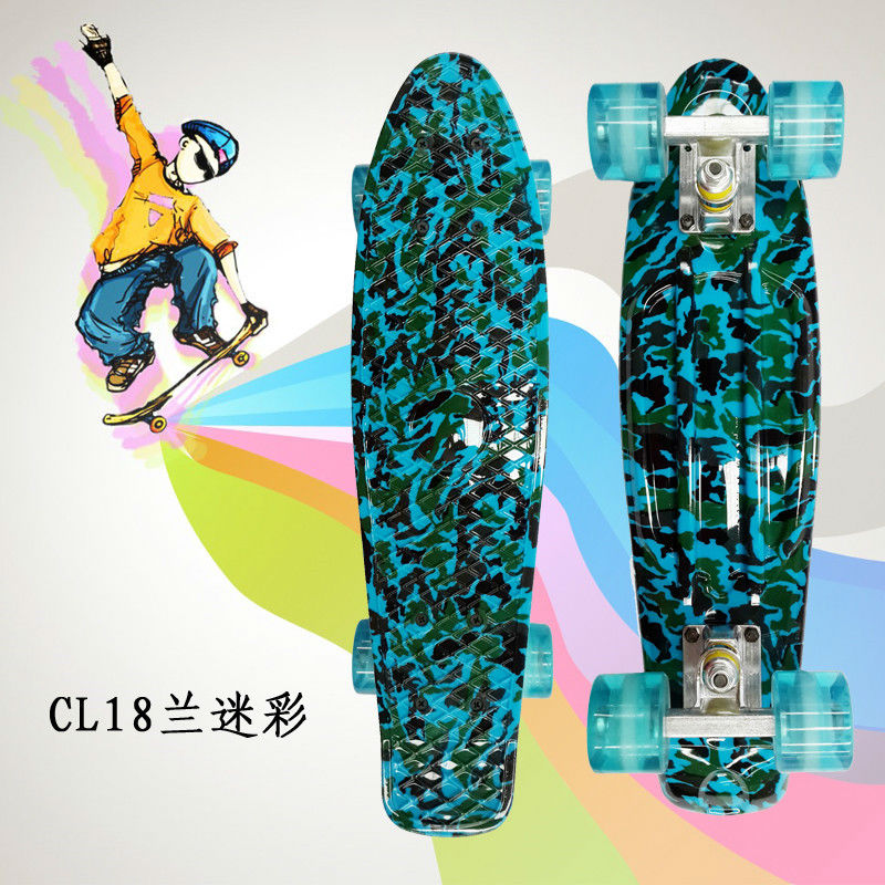 """Image 3 - Complete Peny Board 22"""" Colorful Plastic Skateboard Boy Girl Mini Long Board Skate 6Types Available-in Skate Board from Sports & Entertainment"""