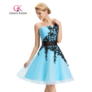 Grace Karin Sexy One Shoulder Lace Short Prom Dress 2017 Robe De Cockail Organza Evening Gowns Vestidos Knee Length Prom Dresses