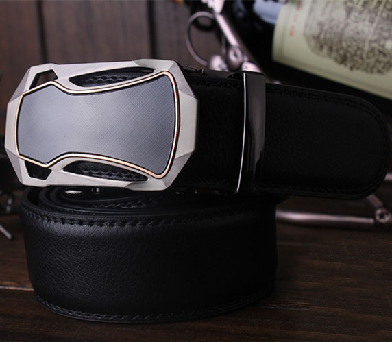 Automatic Buckle Leather Belt For Men (Black)