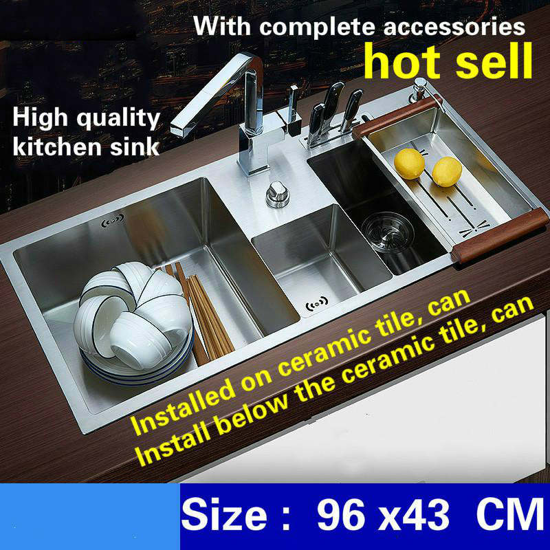 Free Shipping Deluxe Kitchen Sink Manual Double Channel 4mm Thick Food Grade Stainless Steel Water Discharge Controller 96x43 CM