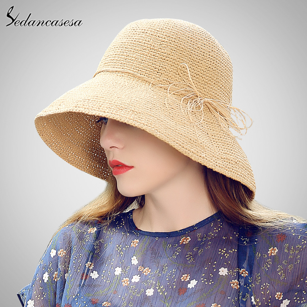Sedancasesa Sun Hat Female Summer Travel Protect Folding Straw Hats For Women Beach Visor Cap Girl Hot on Sale