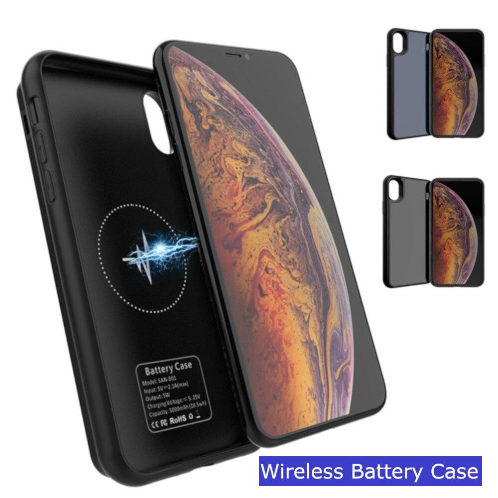 2019 batterie externe pour iPhone X XS Max chargeur de batterie cas intelligent sans fil charge couverture de batterie pour iPhone XR XS boîtier d'alimentation