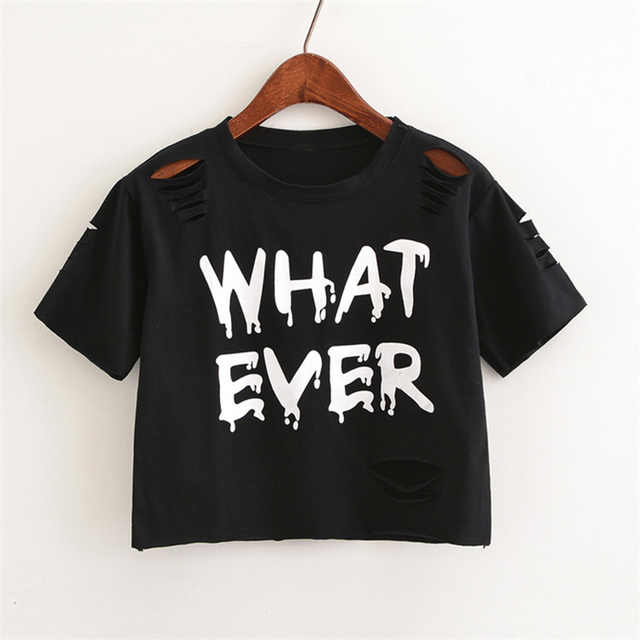 84e932e7120b9 MERRY PRETTY New t Shirt Women Crop Tops Harajuk Crew Neck Short Sleeve  WHAT EVER printed T-Shirts Sexy Summer Top For Girls