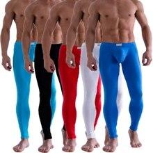 Сплошной Цвет мужская Лонг Джонс Брюки Тепловая Underwear Малоэтажных Трусы Ml XL