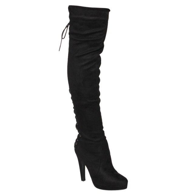 3a517a1ac4a Beston FM35 Women s Platform Side Zip Wrapped Stiletto Heel Thigh High Boots