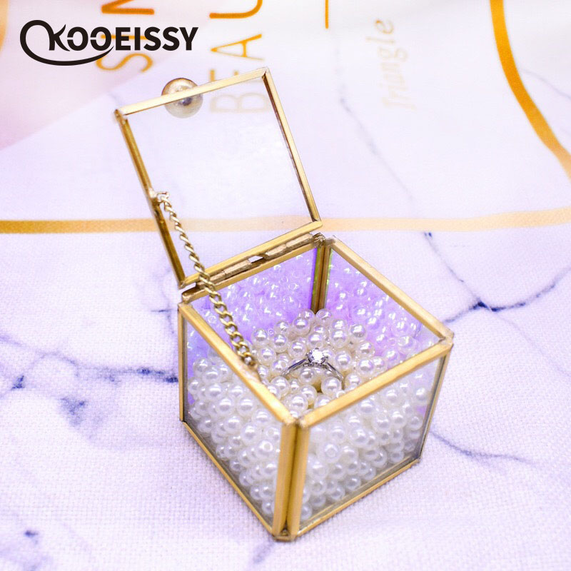 Jewelry-Box Wedding-Ring Flower-Room Gift Square Marriage Transparent Nordic For Girlfriend