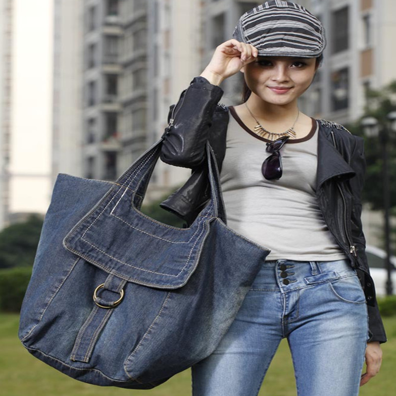 Bolso Kiple2018 New Denim Women's Bag Jeans Bags Cowboy Zipper Personality Large-capacity casual female solid color hot