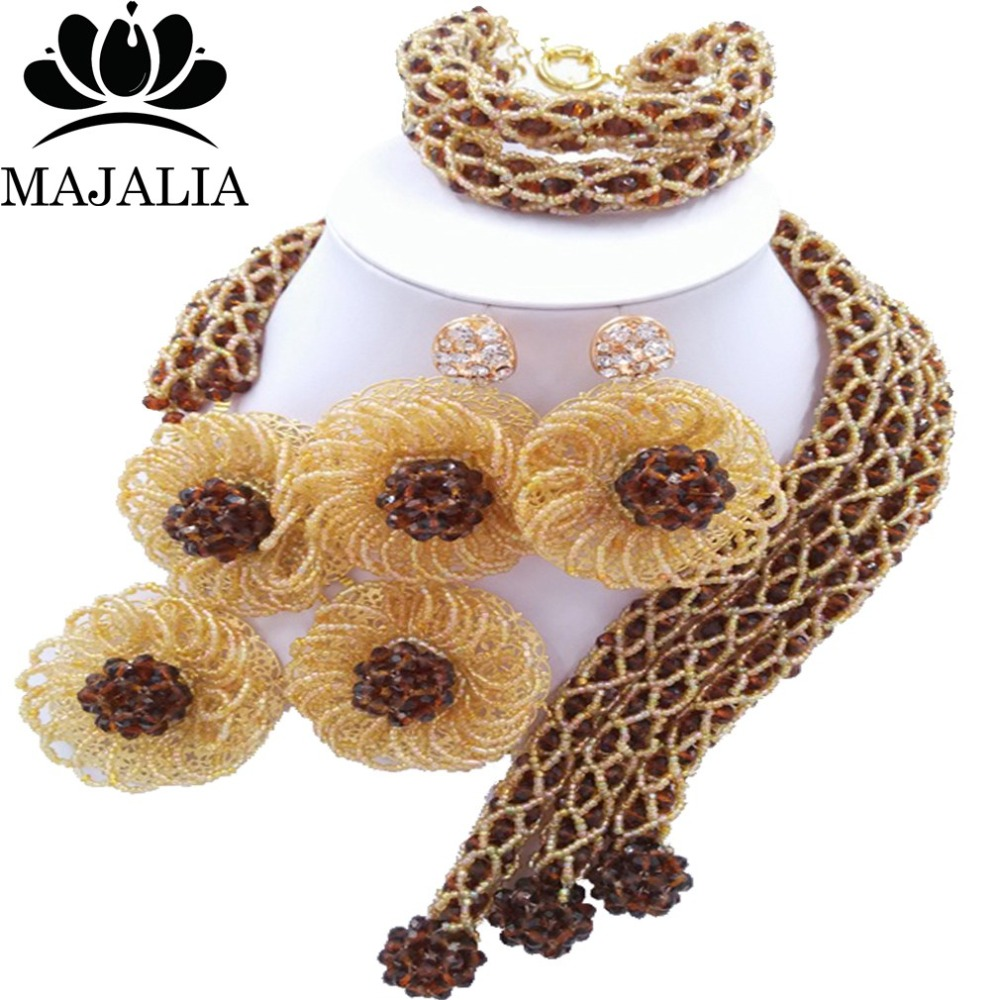 Trendy Nigeria Wedding Brown african beads jewelry set crystal necklace bracelet earrings Free shipping Majalia-083 trendy nigeria wedding african beads jewelry set black and brown crystal necklace bracelet earrings free shipping vv 255