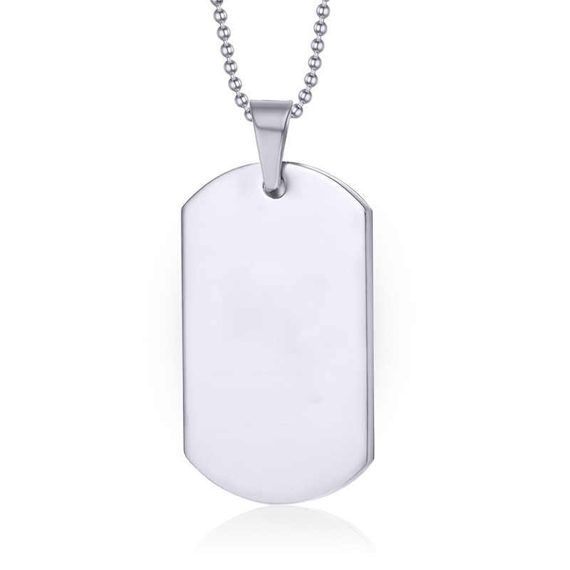 1 ST Leger Tag Badge Naam Dog Tag Hanger Man Chain ketting Zwart Rvs Choker Charm Vrouwen Eenvoudige Sieraden Gift