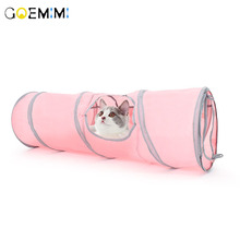 Pet Cat Tunnel Pink Color Play Tubes  Collapsible Crinkle Kitten Dog Toys Puppy Rabbit Toy