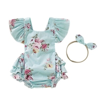 Summer Newborn Baby Girls Ruffle Romper Flower Backcross Jumpsuit Outfits Sunsuit Baby Romper +Headband 0 18M