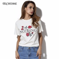TECHOME Stylish Gal Women Fashion Rose Nothing Letter Print T Shirt Casual Short Sleeve Tops Floral