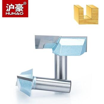 """Huhao 1pc shank 1/2 """"1/4"""" cnc limpeza inferior roteador bit ferramentas de madeira bits para madeira dupla flauta carboneto ponta endmill"""
