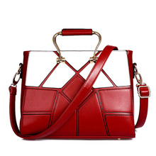 Luxury Elegant PU Hand Bag 2016 New Women Retro Patchwork Red And Black Geometric Splicing Plaid