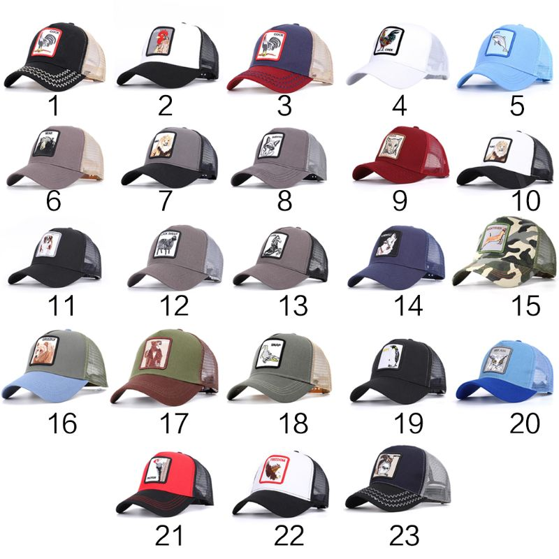 23 Styles Unisex Camouflage Contrast Color   Baseball     Cap   Animal Embroidered Patch Mesh Back Adjustable Snapback Trucker Hat