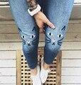 Новых Женщин каваи Кошка Вышивка Джинсовые Брюки Светло-Голубой Высокой Талией Узкие Джинсы Брюки Джинсы Feminino haute taille pantalon брюки
