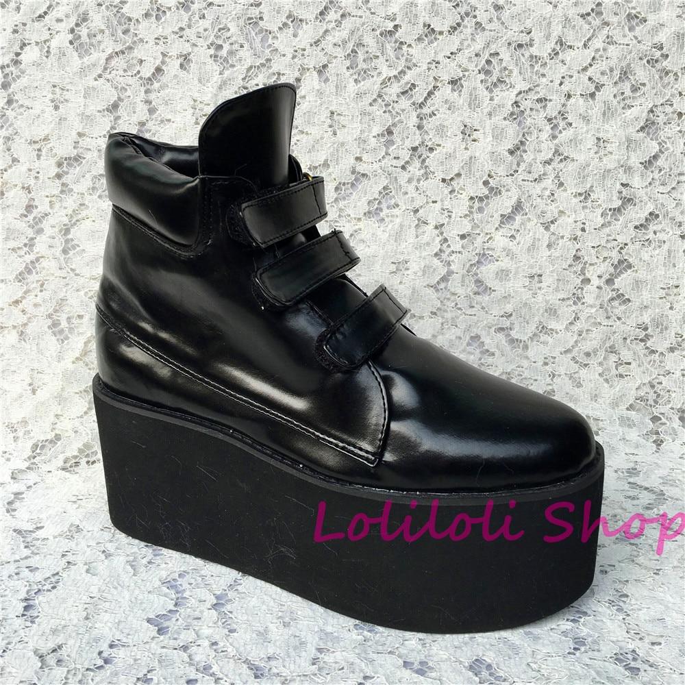 Antaina Fond Personnalisé Noir Noir Plates sangle Peau 5195n 1 Brillant Gothique Princesse multi Chaussures Boucle Lolilloliyoyo Doux Lolita Épais wYx6X