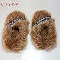 Halloween star wars chewbacca muebles para el hogar zapatos niños y niñas de regalo de interior para adultos mujeres del invierno zapatillas de algodón cosplay