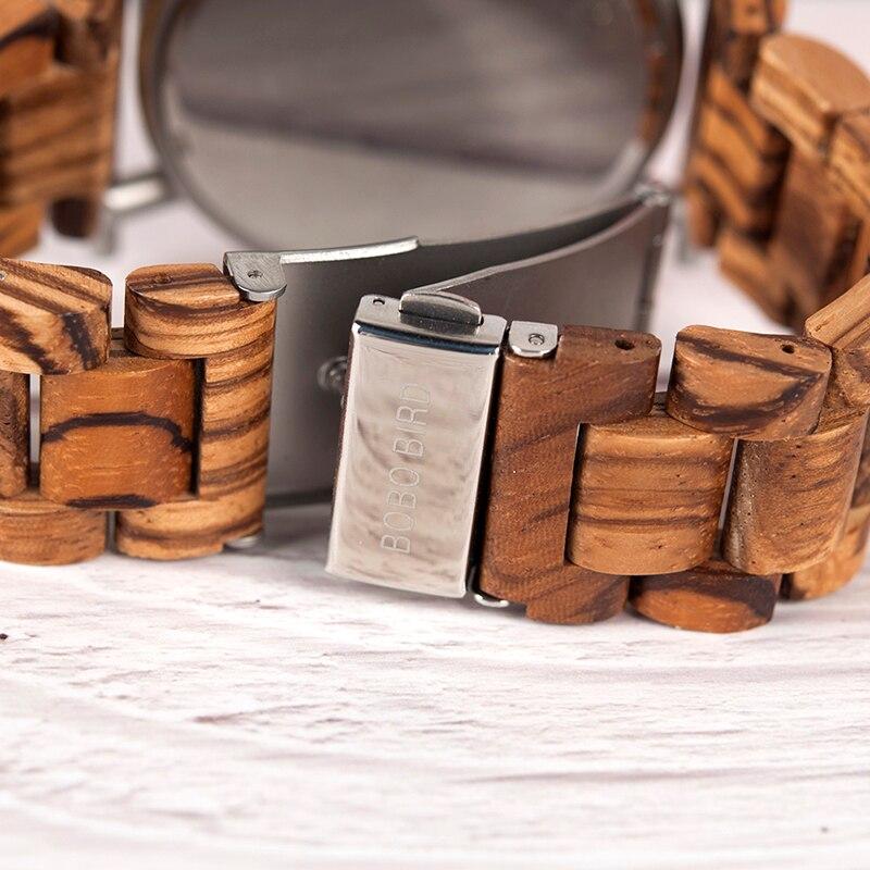 BOBO oiseau en bois hommes montre en acier inoxydable étanche montre-bracelet avec Date et plusieurs fuseaux horaires reloj hombre hommes cadeau W-R06 - 3