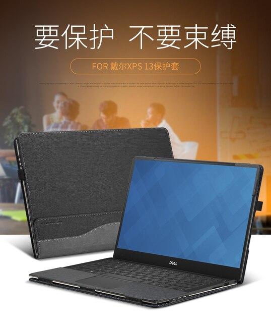 """מקרה עבור 13.3 """"Dell XPS 13 9370/9360/9350/9365/9343 מודלים עור מפוצל Folio Stand מגן מחשב נייד כיסוי עבור Dell XPS 13.3 אינץ"""