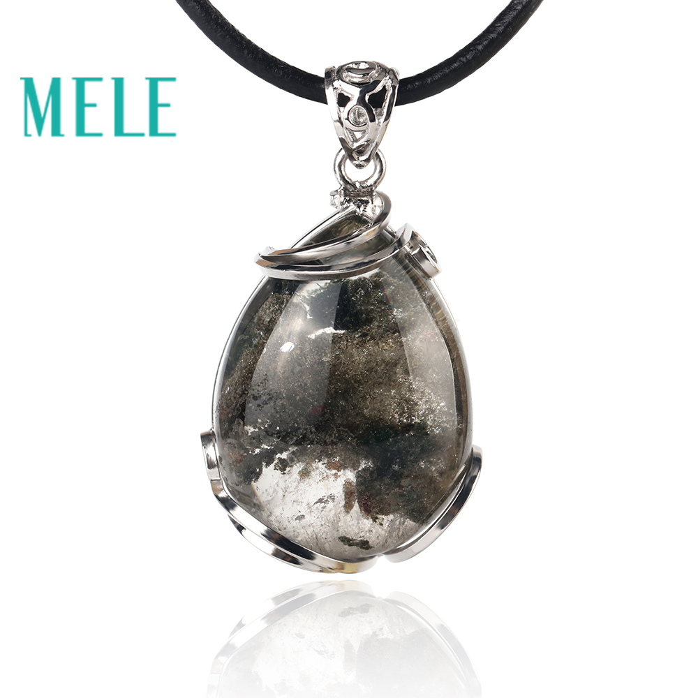 цена MELE natural green ghost phantom garden crystal pendant for women and man,30X21mm water drop good pervious Anti fatigue
