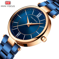 MINIFOCUS 2018 New Ladies Fashion Blue Gold Watch Women Stainless Steel Quartz Wrist Watch Luxury Women Watches relogio feminino