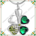 CMJ8533 Green Crystal Clover Flower Urn Necklaces For Ashes High Quality Stainless Steel Cremation Jewelry Pendants