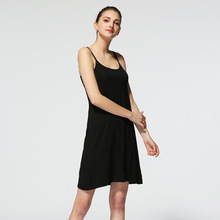 2019 women nightdress modal no rims cup with bra bottoming sexy black nuisette home clothing sleepwear mujer pyjamas plus size