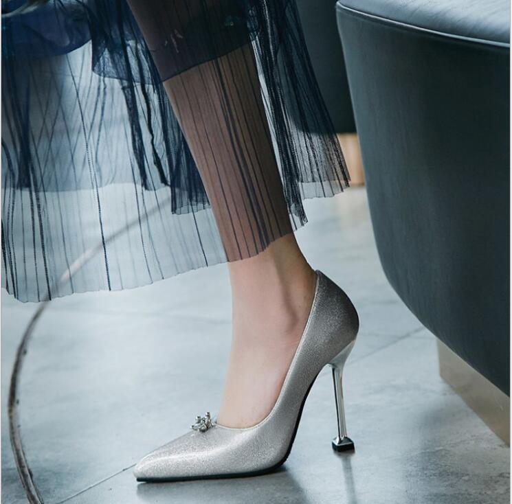 Otoño as As Mujer Mujeres Impresión Del Tacones Zapatos Las Shows Boda De 2018 Flor Gladiador Shows Cristal Plata Altos Bombas Picture 5pqFpxH
