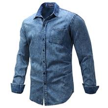 Fredd מרשל חורף mens ארוך שרוול חולצה אופנה מזדמן ג ינס חולצה גברים בתוספת גודל 3XL כפתור כותנה חולצה camisa masculina