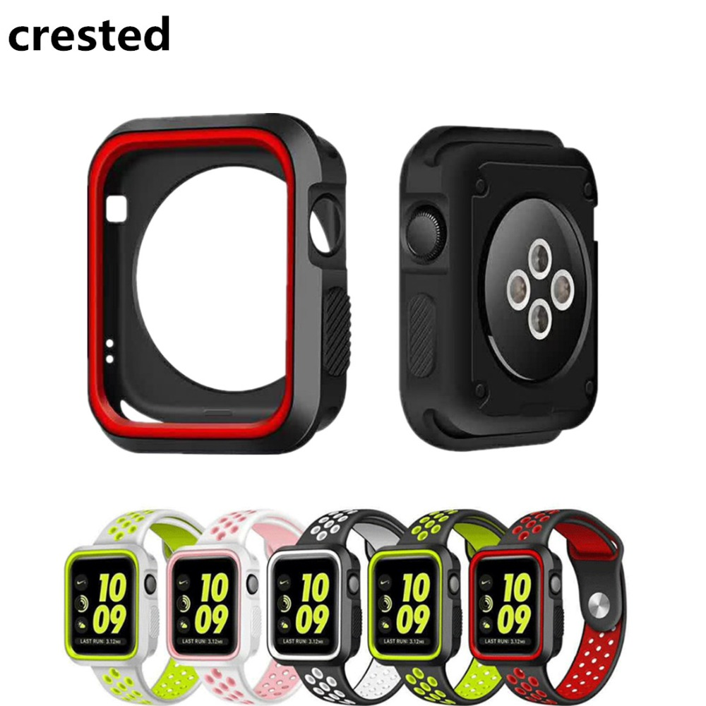 CRESTED Watch Frame PC Case For Apple Watch band 42mm 38mm iwatch 3 2 1 protective Case screen protector plating cover shell sport loop for apple watch band case 42mm 38mm nylon watch strap bracelet with metal frame protector case cover for iwatch 3 2 1