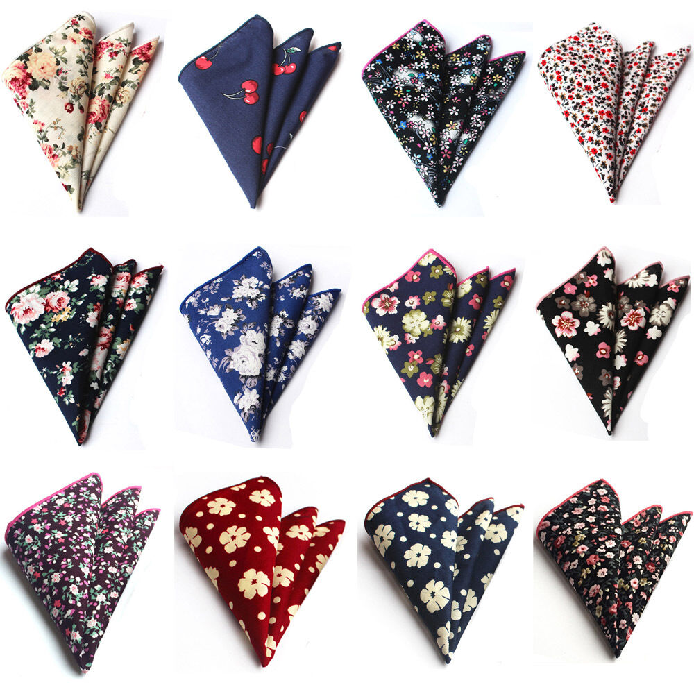 Mens High Quality Cotton Floral Paisley Pocket Square Handkerchief HZTIE0223