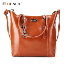 Dusun Genuine Leather Handbags Famous Brand Women Bags Fashion Casual Handbags High Capacity Shouder Bags Vintage Women Bag