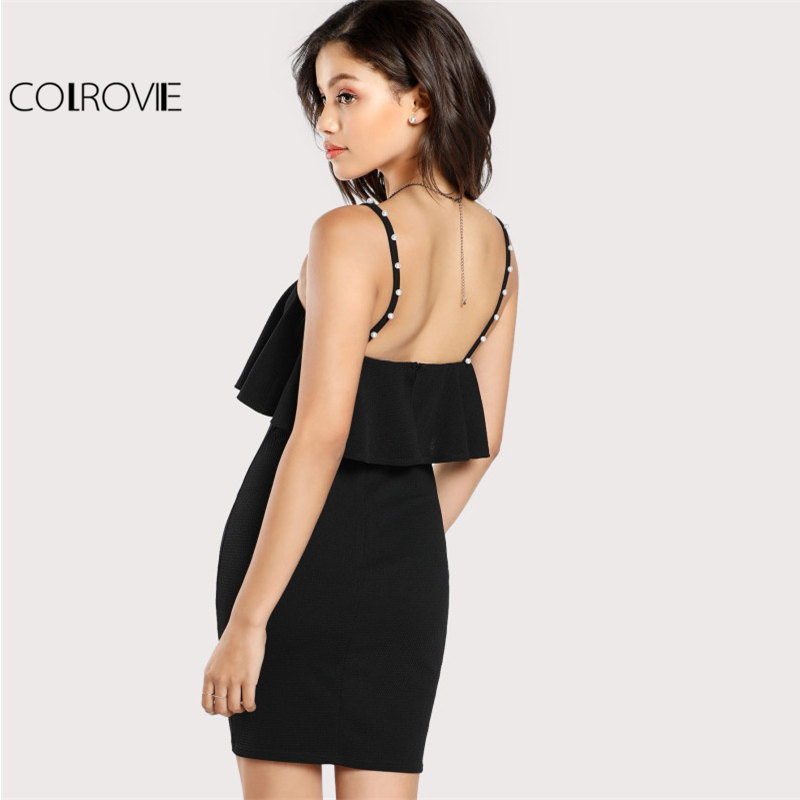 COLROVIE Pearl Beaded Strap Flounce Textured Party Dress Black Spaghetti Strap Sleeveless Ruffle Slip Plain Bodycon Dress ...