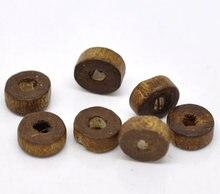 Doreenbeads moda espaçador de madeira contas para jóias diy descobertas plana redonda café preto cor contas para brincos artesanais, 300 pçs