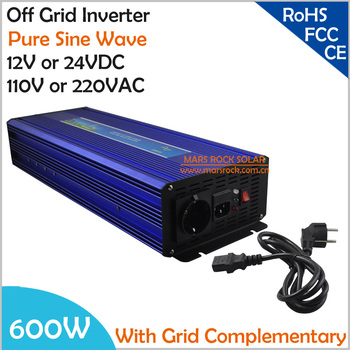 600W DC12V/24V AC110V/220V, Off Grid Pure Sine Wave Solar or Wind  Inverter, City Electricity Complementary Power Inverter